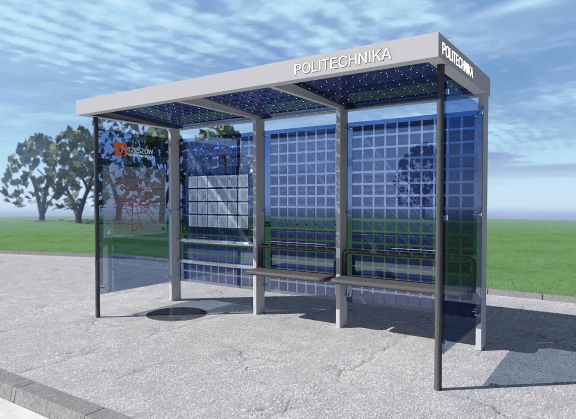 Koncepcja / Fotowoltaiczny przystanek autobusowy