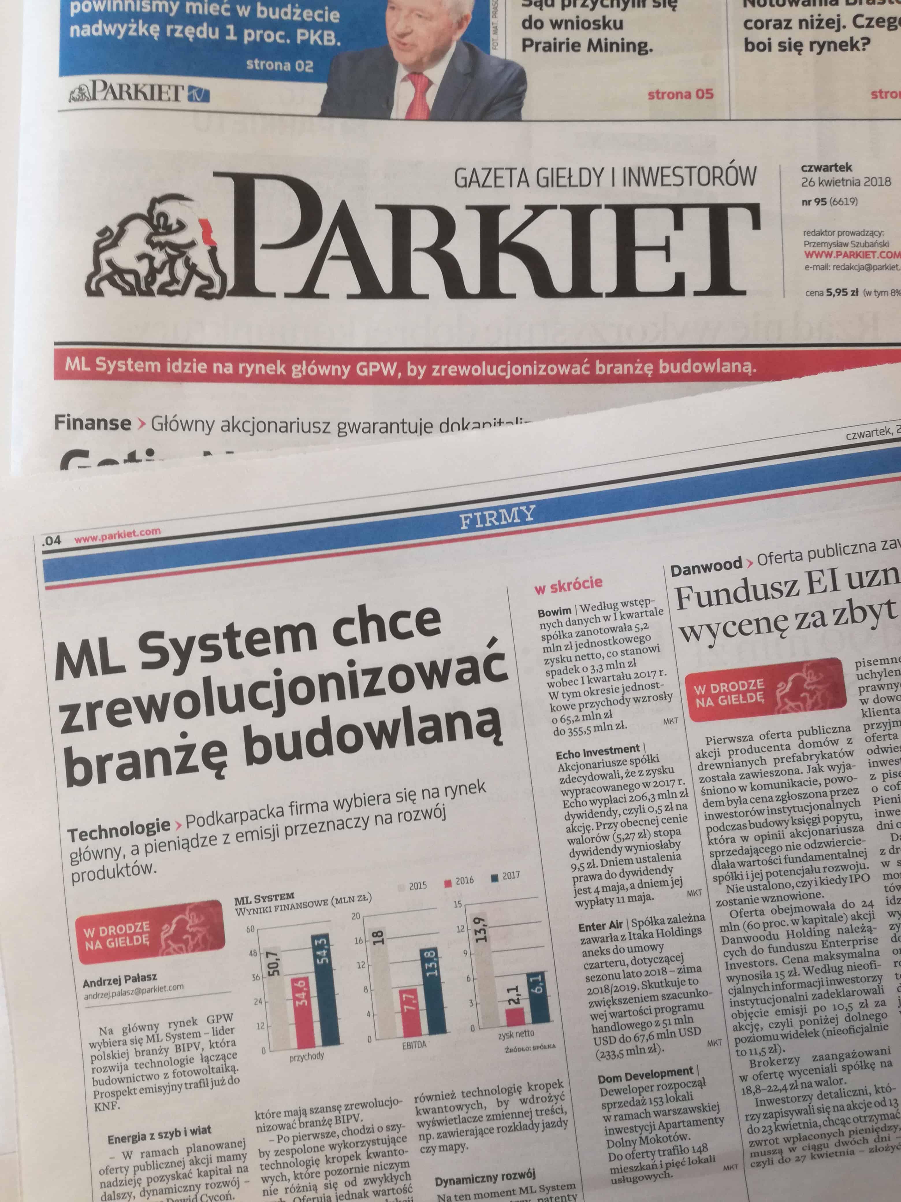 ML System Parkiet Artykuł