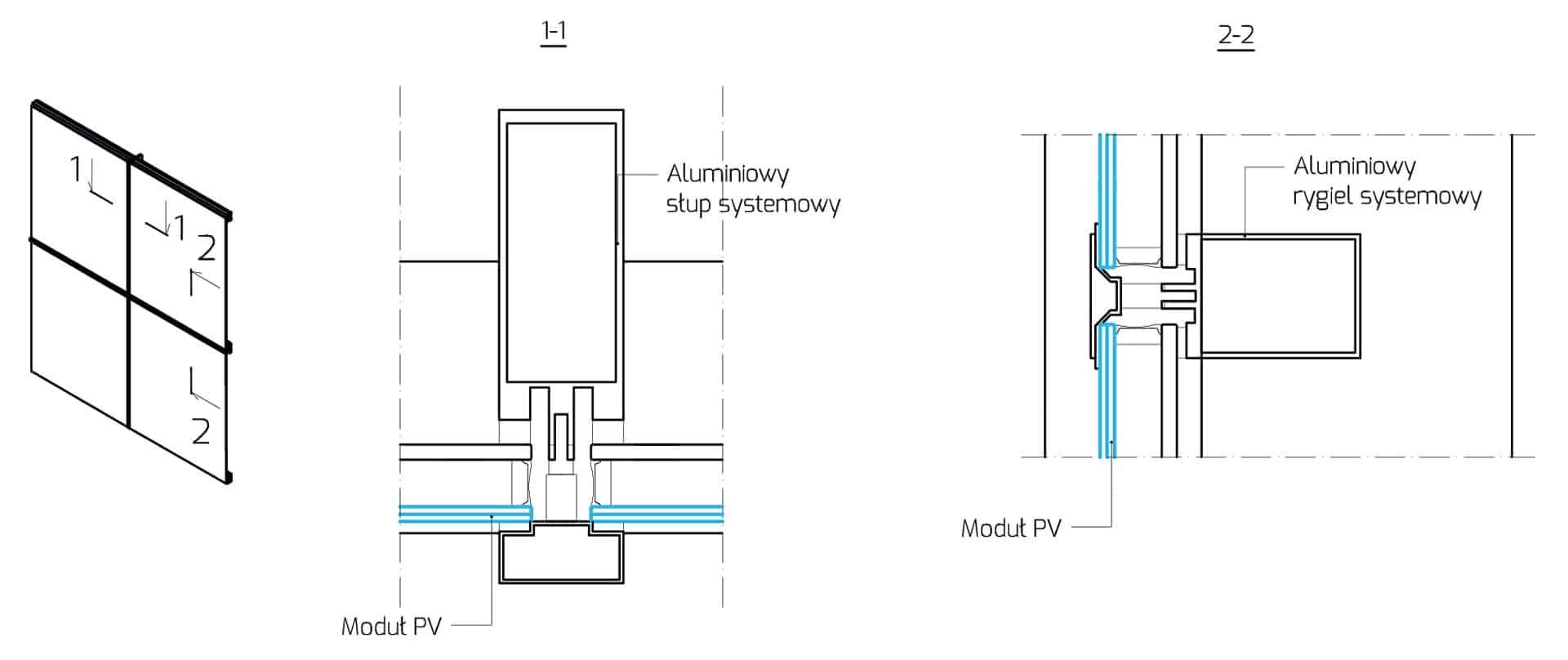 rysunek techniczny-fasada slupowo ryglowa